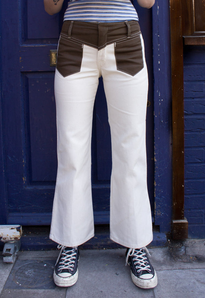 CREAM DENIM FLARES