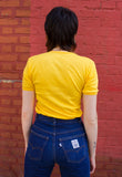 70's VINTAGE V-NECK T-SHIRT IN YELLOW