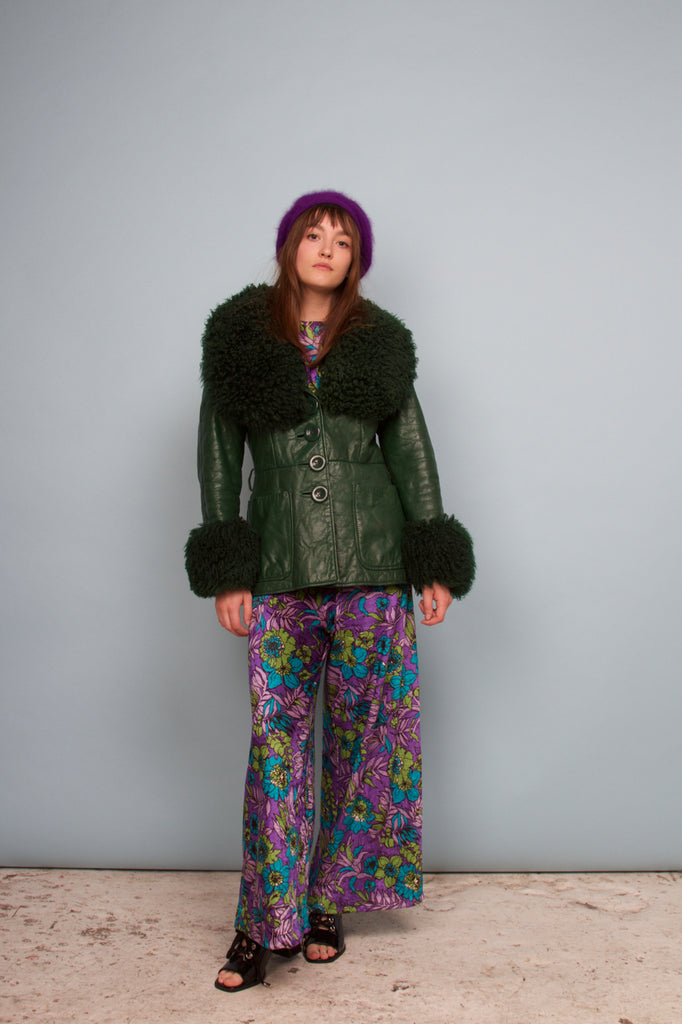 1970'S NAPPA LEATHER & SHEARLING FOREST GREEN JACKET
