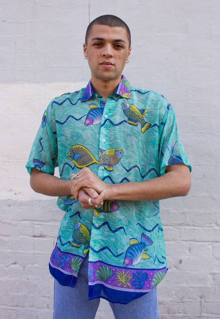 Vintage Oversized Unisex Summer Shirt with a seaside print