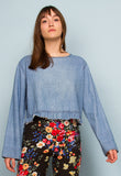 LONG SLEEVE DENIM CROP TOP WITH FRILL HEM
