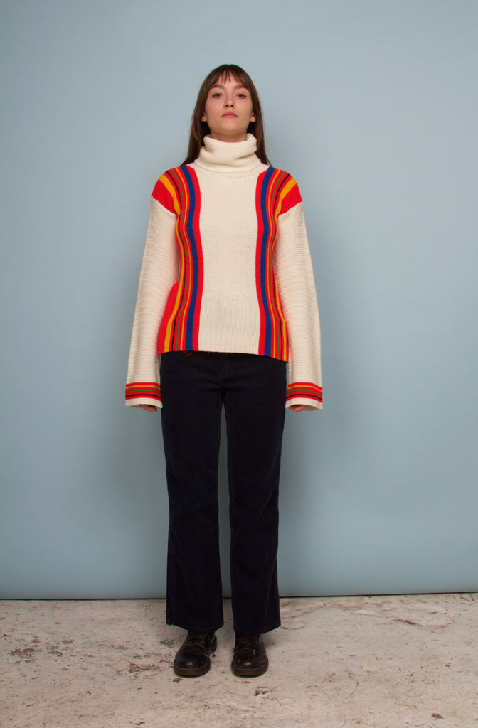 CHUNKY KNIT ROLL NECK RAINBOW STRIPED JUMPER
