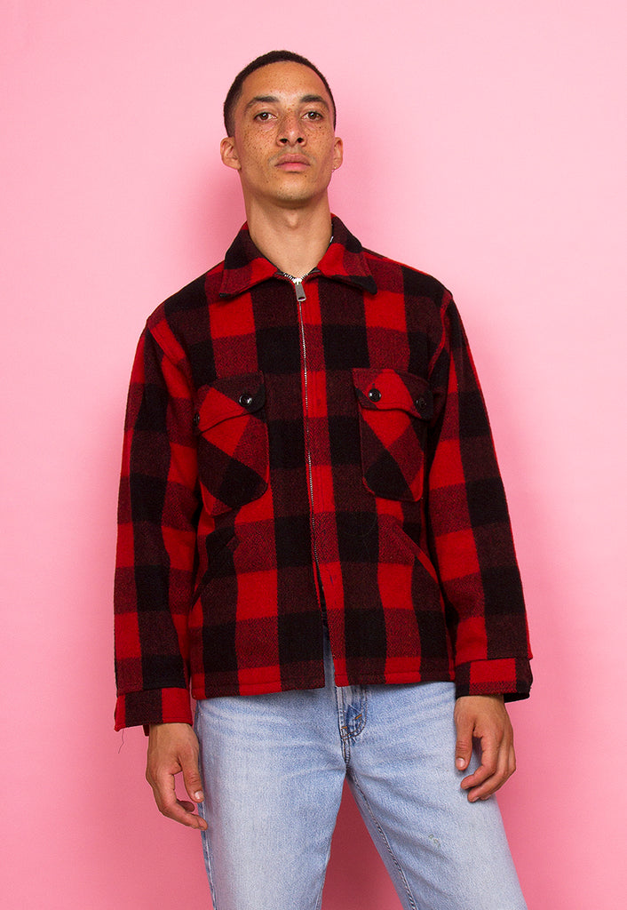 RED & BLACK PLAID LUMBERJACK COAT
