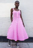 CANDY STRIPE VINTAGE MIDI DRESS