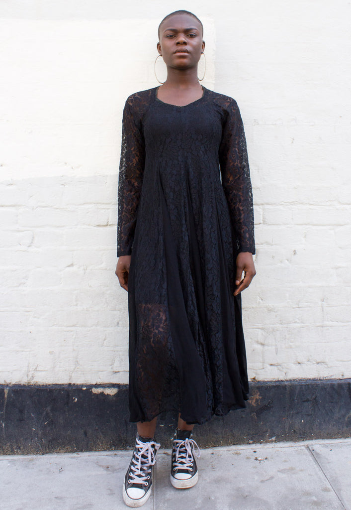 VINTAGE MID-LENGTH SHEER LACE DRESS