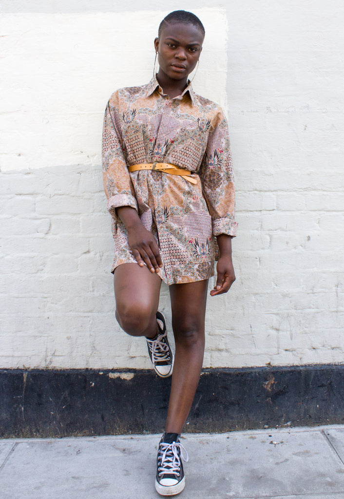 VINTAGE PATTERNED SHIRT DRESS