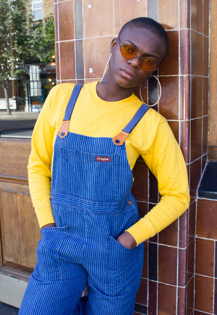 VINTAGE STRIPED DUNGAREES