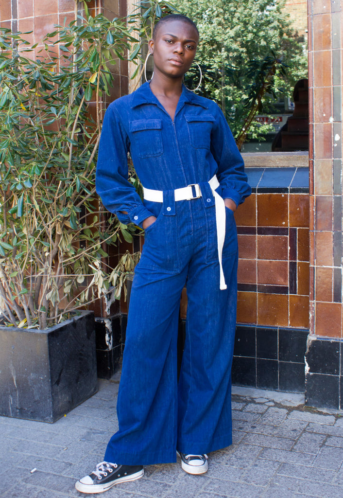 70'S VINTAGE JUMPSUIT WITH FLARED LEG
