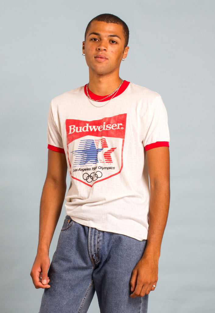 Vintage 80s Budweiser Beaten Up Ringer T-shirt