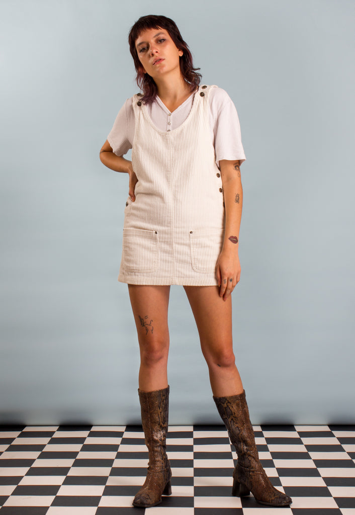 Vintage 90s Cream Corduroy Pinafore Mini Dress