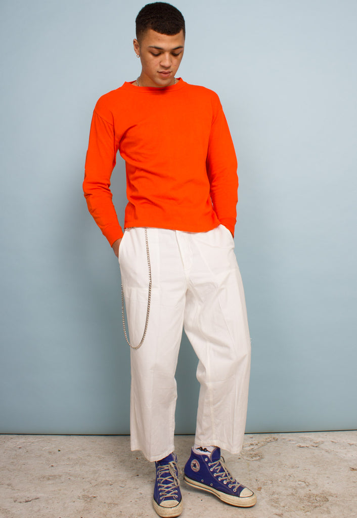 WHITE UNISEX VINTAGE TROUSERS