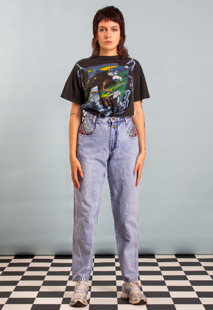 80s Acid Wash Dyed Mom Jeans