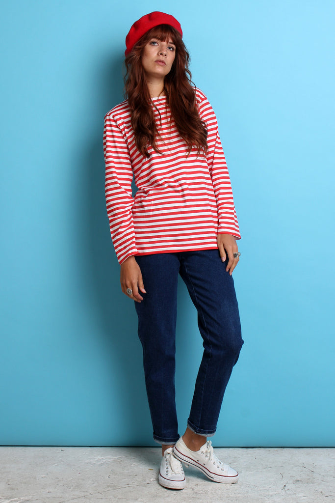 Red & White Breton long sleeved top