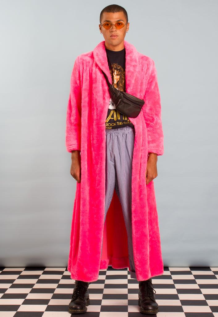 NEON PINK FAUX FUR COAT