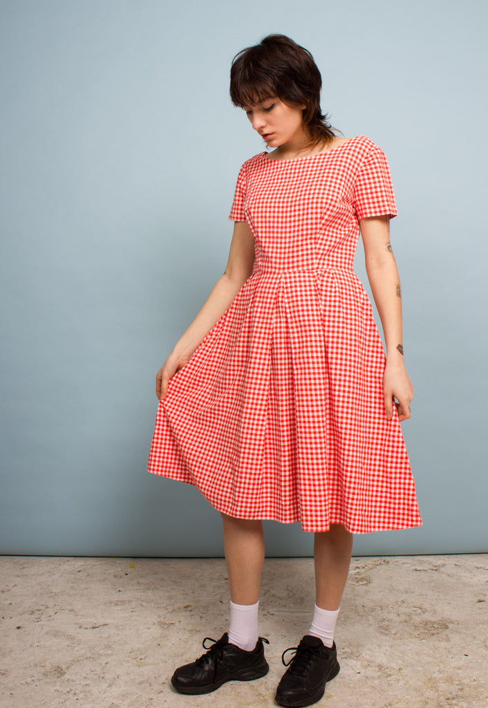 VINTAGE MID-LENGTH GINGHAM DRESS