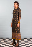Vintage 1970s Patterned Lurex Glitter Maxi Dress