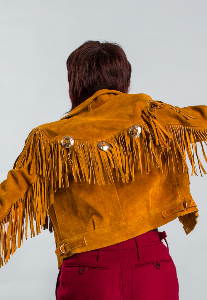 Brown Leather Fringed Jacket