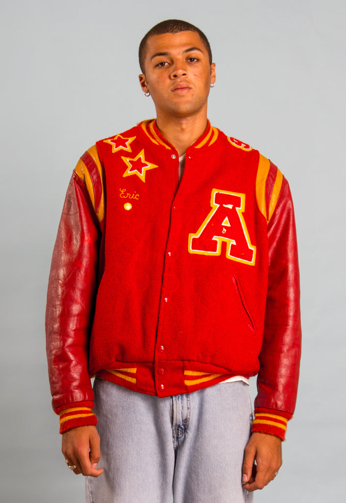 Vintage Red Varsity Letterman Bomber Jacket