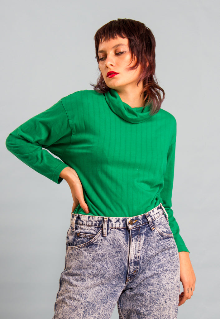 Green Polo Neck Long Sleeve Top