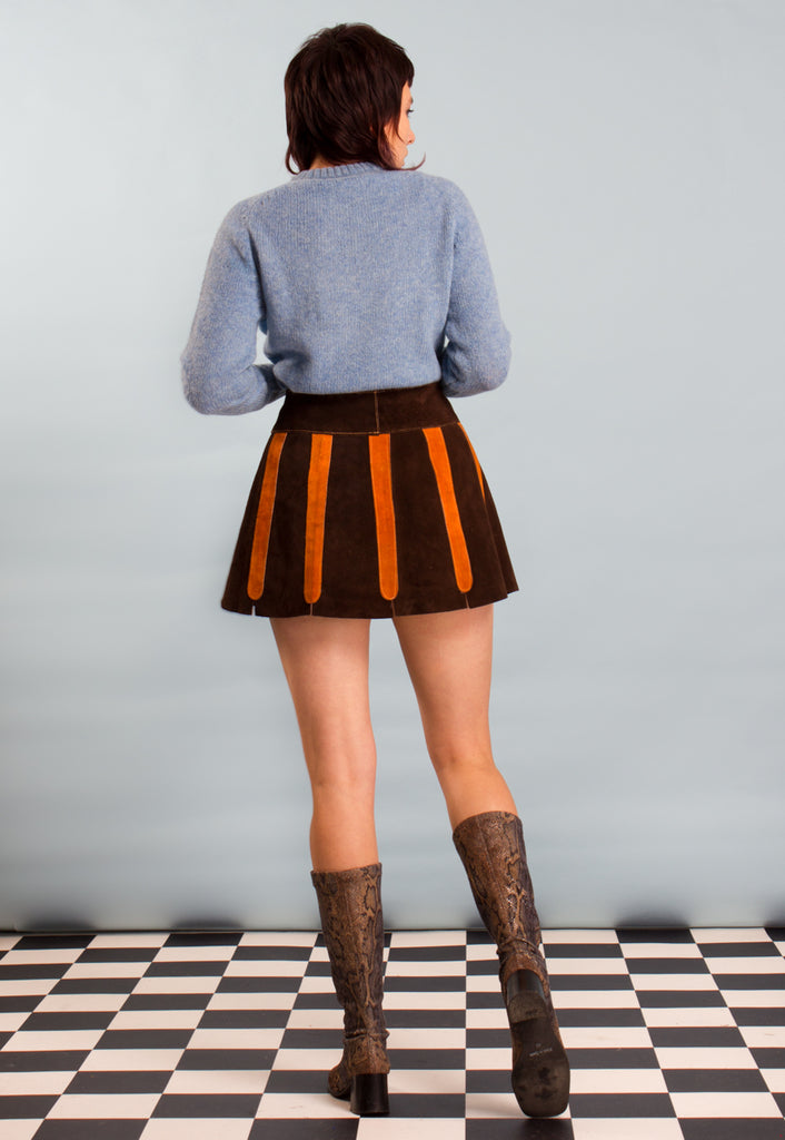 60's 70's Vintage Suede Mini Skirt