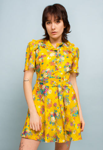 Vintage Military Nurse Dress in Yellow Overdye