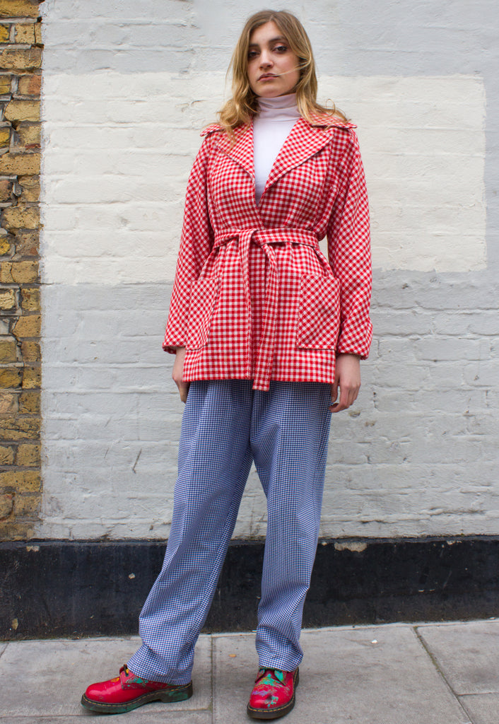 1970s Vintage Red and White Gingham/ Check Jacket