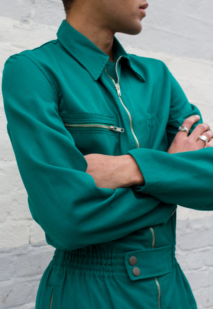 Unisex Emerald Green Zip Front Utility Boilersuit