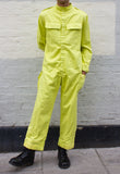 Unisex Velcro Boilersuit in Acid Green Overdye