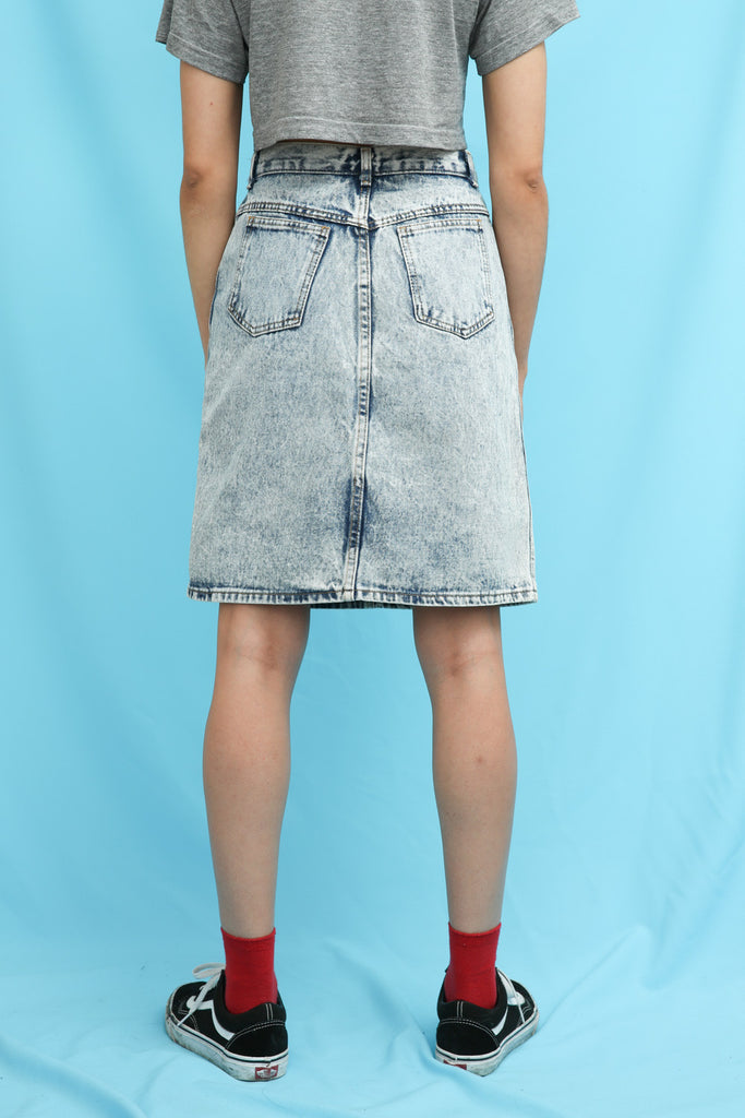 80s 90s Vintage Acid Wash Denim Knee Length Skirt