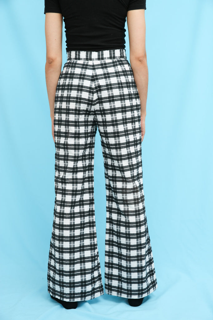 70s Vintage Black & White Check Flared Trousers