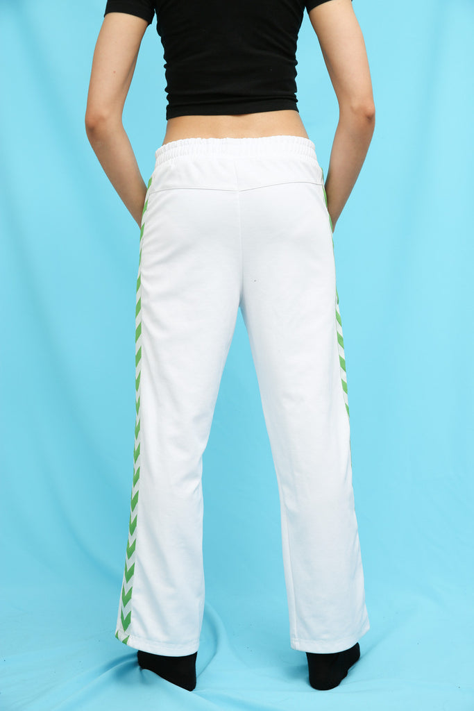 90s Style White Sports Tracksuit Bottoms
