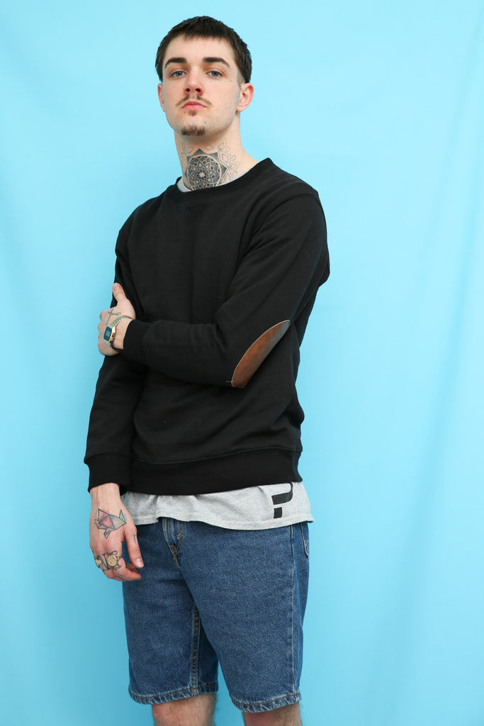 90s Vintage Black Elbow Patch Sweatshirt