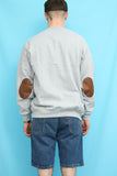 90s Vintage Grey Elbow Patch Sweatshirt