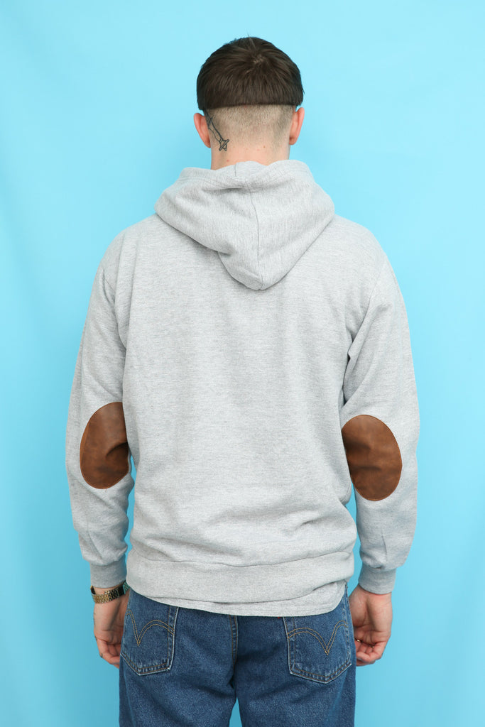 Army Grey Elbow Patch Hoodie Sweatshirt
