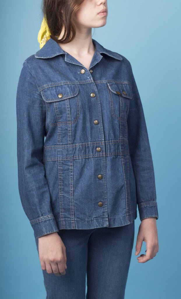 Denim Button-Up Waist Jacket