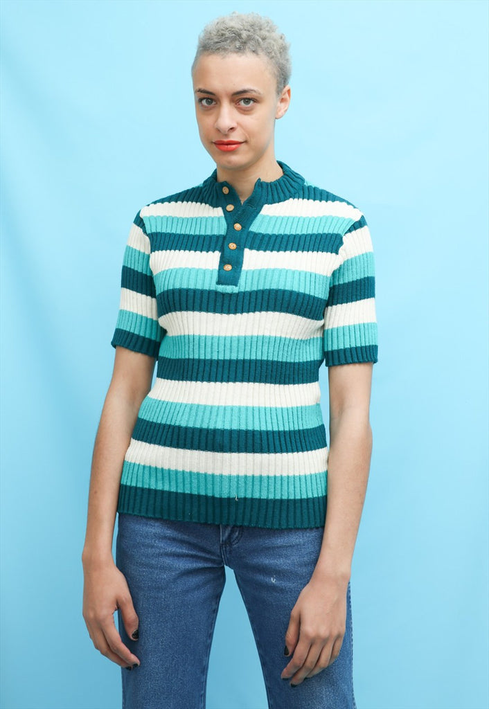 60s 70s Vintage Teal Stripe Knit Mod Top