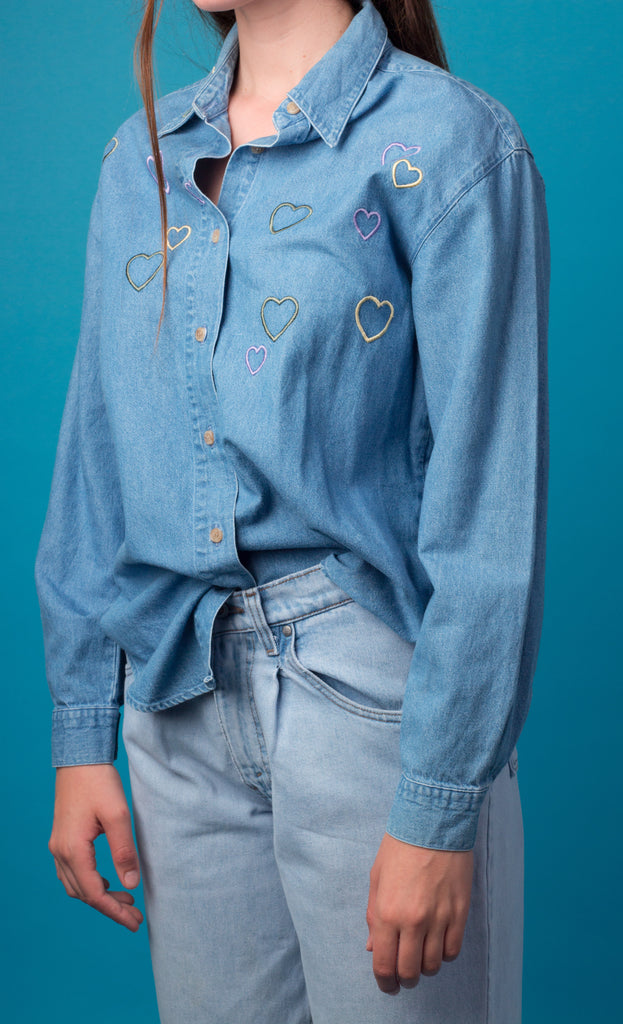 Denim Shirt Hearts Embroidery