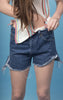 Cut Off Dark Denim Shorts