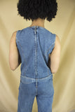 Sleeveless Eyelet Denim Overall