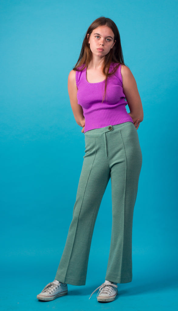 Mint Green Knitted High Waisted 70s Trousers