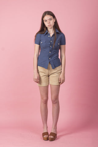 Unisex Navy Button-Up T-Shirt