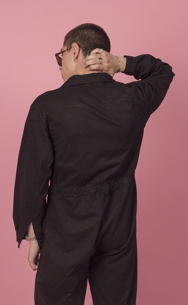 Over-dyed Black Sateen Coverall in Herringbone Twill
