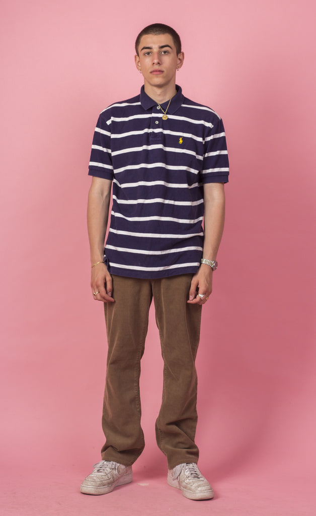 Ralph Lauren Striped Navy Polo