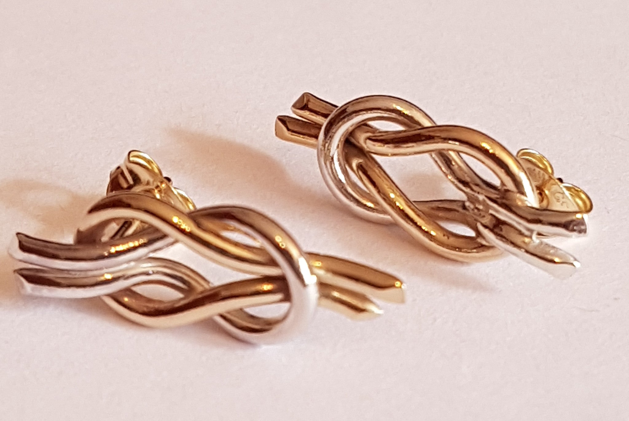 Gold and Silver Reef Knot Stud Earrings