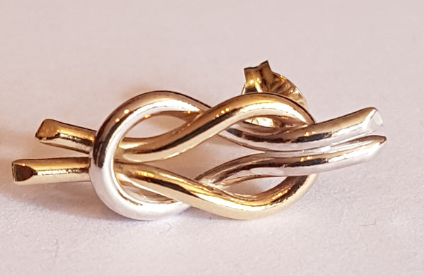 Gold and Silver Reef Knot Earrings