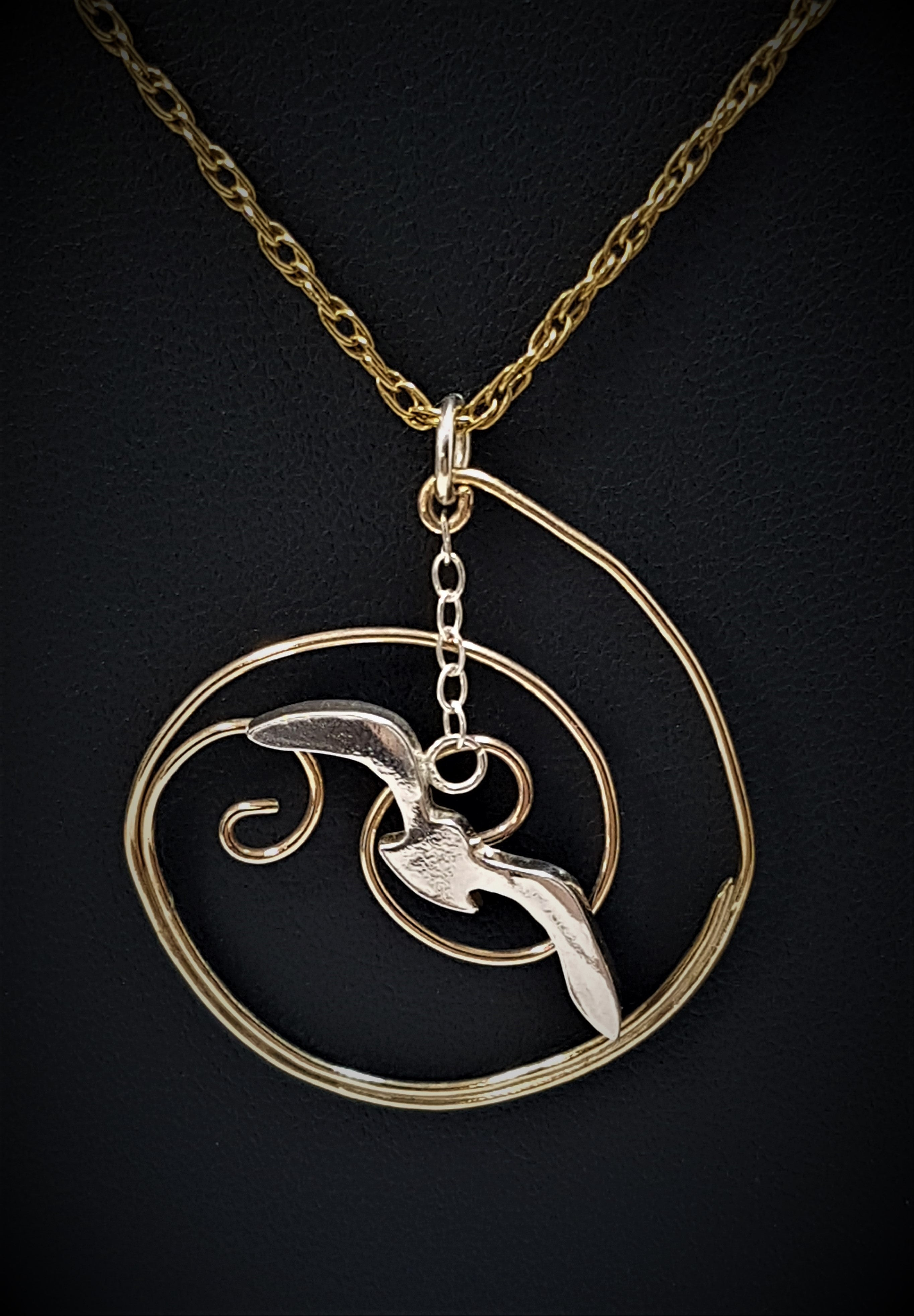 Seagull over Wave Pendant - GOLD/SILVER