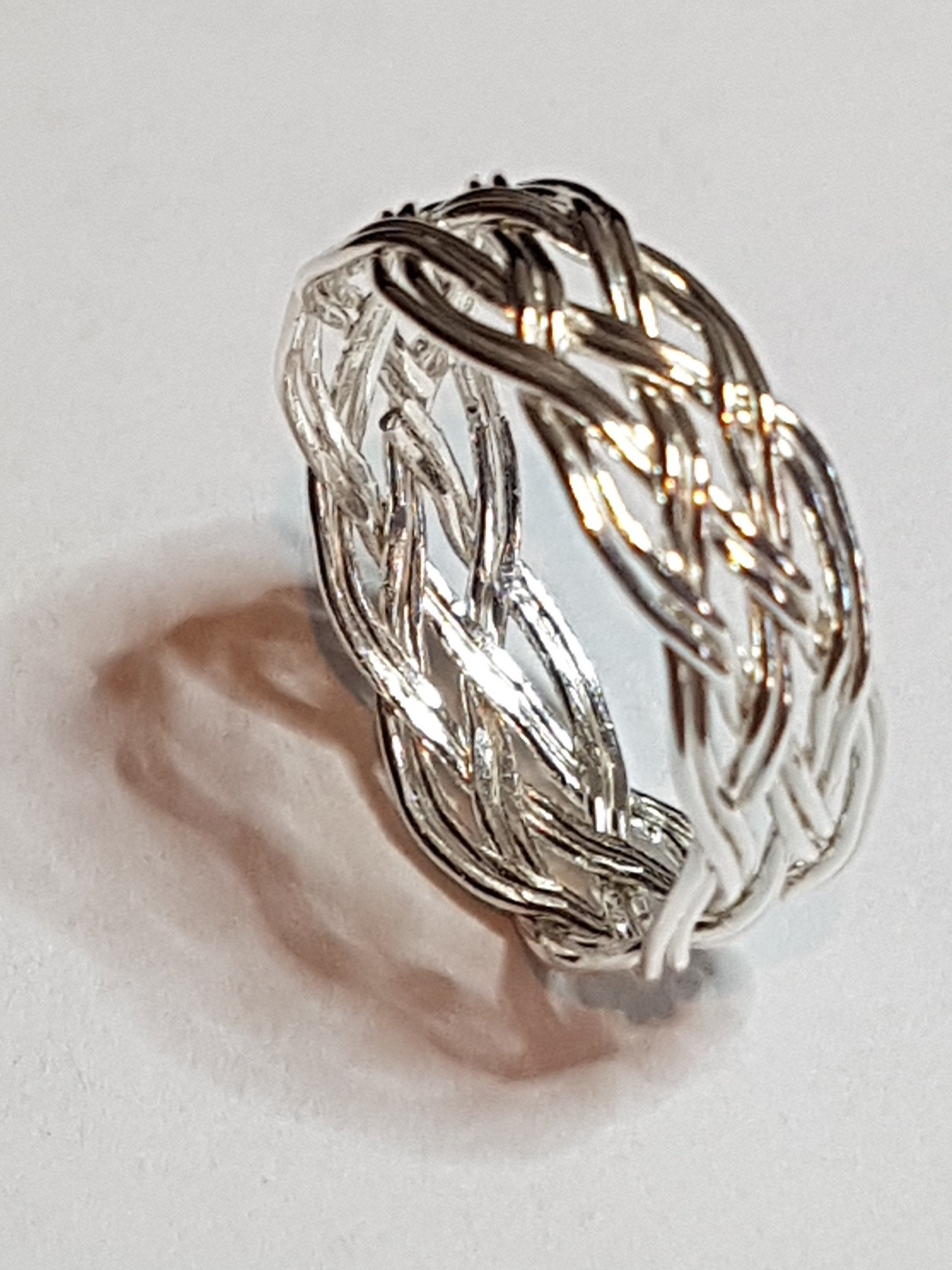 silver Turks Head knot ring - womens
