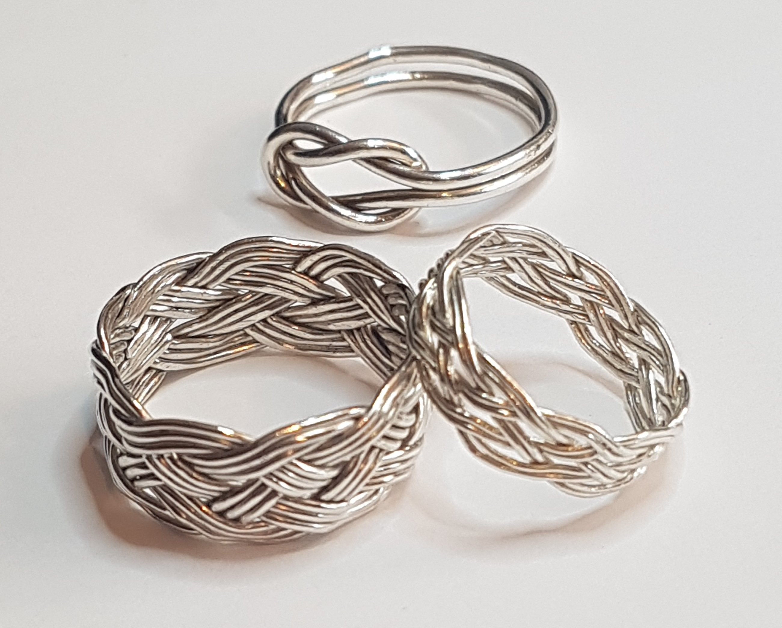 silver rings, Turks Head, Reef knot