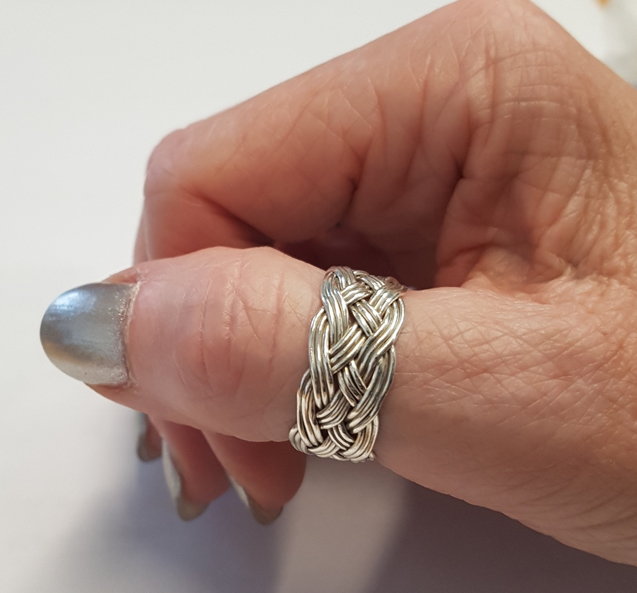 Turks Head Knot Ring, Silver - 3 strand