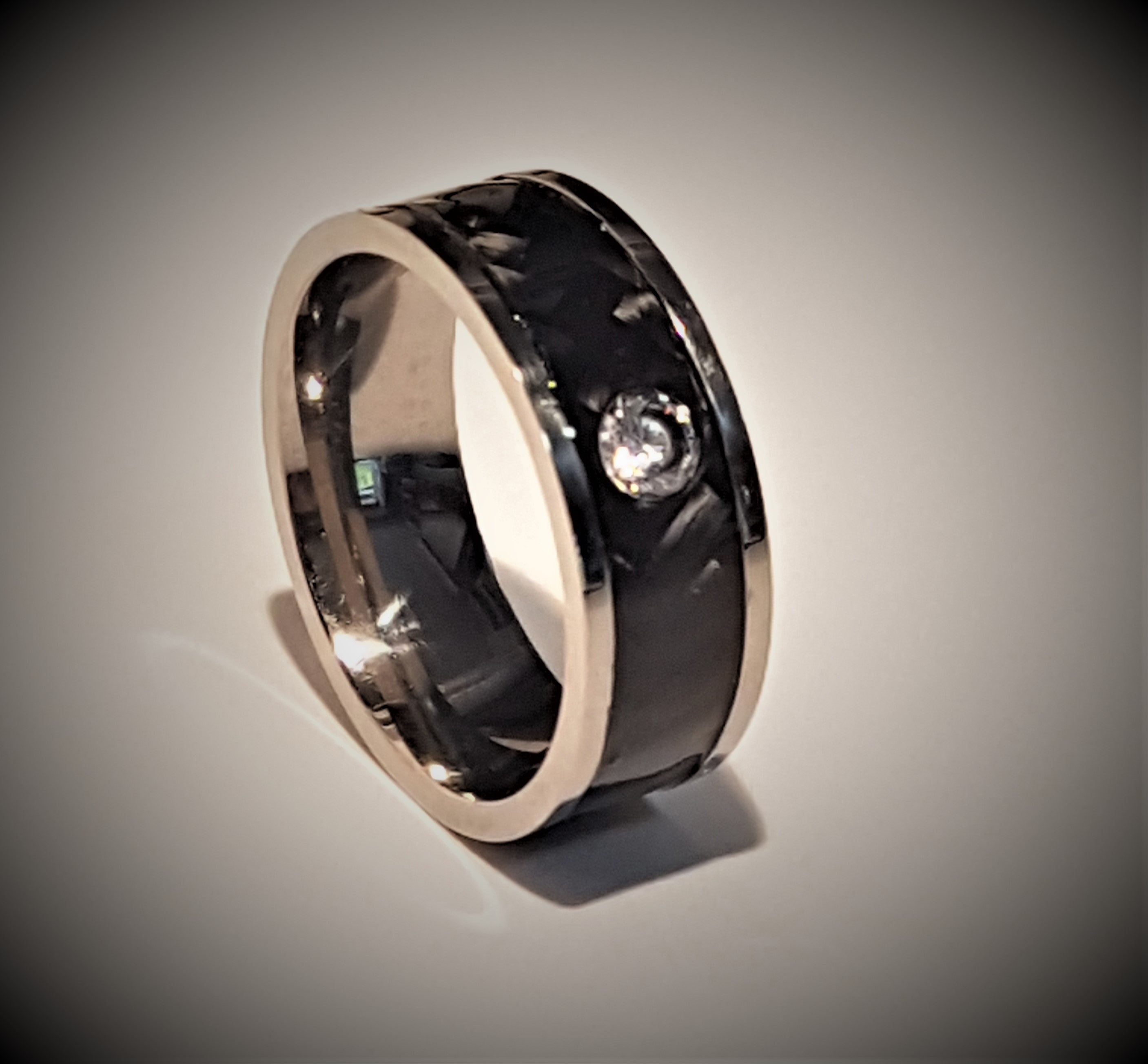 Carbon Fibre and Titanium CZ stone Ring 8mm